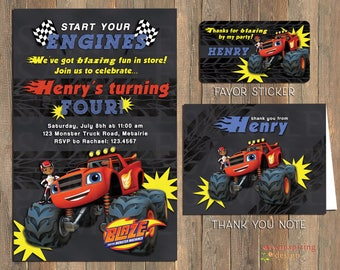 Blaze Monster Truck Birthday Party Invitations, Thank You Notes and/or Favor Stickers