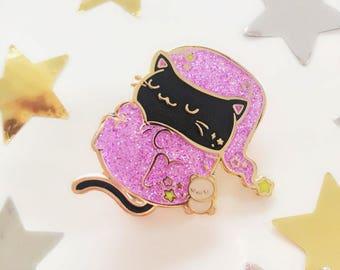 The Pink Samurai x Sharodactyl Art Collab: Cat's Pajamas Enamel Pin