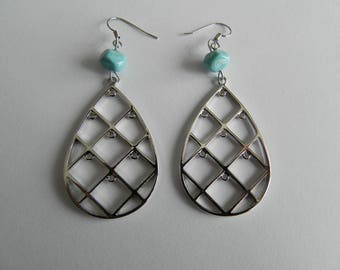 Turquoise Lampwork bead and silver geometric earrings