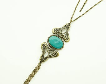 Necklace with large turquoise enameled oval
