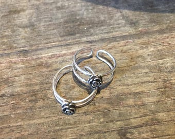 925 Silver Adjustable Toe Ring with Rose