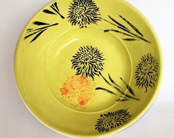 Green and White Fruit Bowl with Carnations /  Handpainted Pottery Fruit Bowl / serving dish / salad bowl