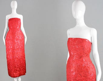 Vintage 80s SCAASI Red Evening Gown Lurex Brocade Dress Metallic Lamé Strapless Dress American Hourglass Dress Formal Ball Gown Full Length
