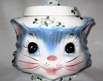 Vintage Lefton Miss Priss Kitty Cat Cookie Jar and Lid Made in Japan 1502