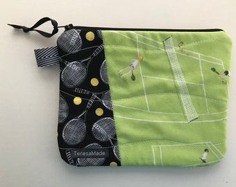 Small Tennis Patchwork Zip Pouch