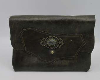 Steampunk Victorian Serpentine, Brass, and Brown Riveted Leather Clutch -- Victorian Consort