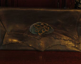 Steampunk Octopus and Agate Distressed Leather Clutch -- Jules Verne's Navigator