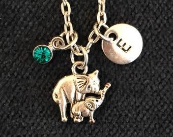 Elephant Initial Necklace Elephant Initial Jewelry
