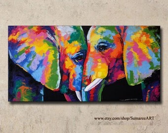 Colorful Elephant Painting,70x140cm