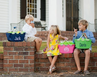 Personalized Easter Basket - Mini Market Tote - Easter Tote - Monogram Easter Basket- Monogrammed Easter Basket -Easter Bucket - Kids Tote
