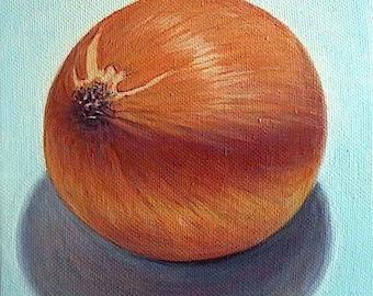 Kitchen art - 'Turquoise Onion' - original painting - 6x6 - still life - food art - oil - sienna - vegetable -realistic - onion painting