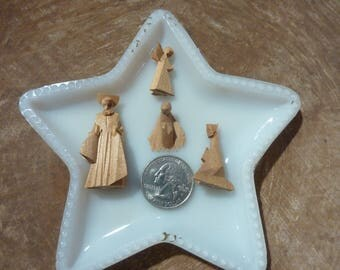 Vintage Miniature Nativity Christmas Figures Hand Carved Wood Baby Jesus Craft Supply Terrarium Diorama Lot (#1205)
