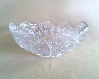 "Vintage 50's Cut Crystal Imperial Glass EAPG Daisy & Button Berry Bowl, 10"" Hand-cut Crystal Hobstar Bowl with Sawtooth Scalloped Edges"