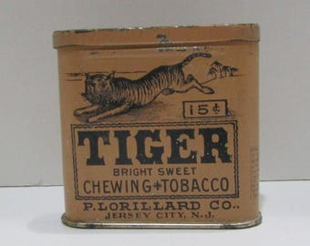 Antique Tiger Bright Sweet Chewing Tobacco Half Vertical Tin