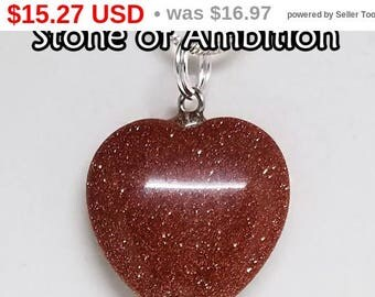 10% OFF Red, Goldstone, Heart, Pendant, Gemstone, Crystal, Necklace