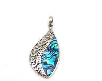 Sterling Silver Abalone Swirl Pendant