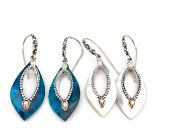 Sterling Silver Mother of Pearl or Abalone Fancy Drop Earrings