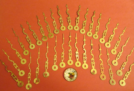 32 Vintage Brass Plated Serpentine Style Clock Minute Hands for your Clock Projects, Jewelry Making, Steampunk Art and Etc...