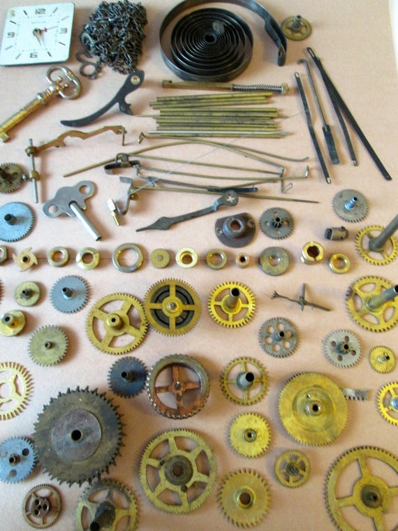 Large Assortment of Antique & Vintage Clock Parts, Keys and Hardware for your Clock Projects - Steampunk Art - Jewelry Making