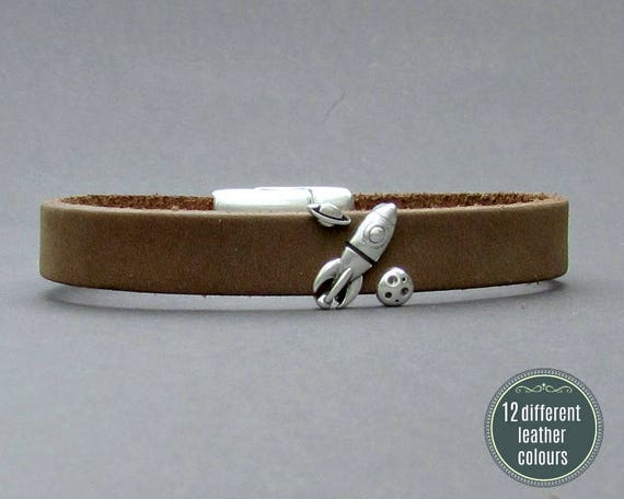 Space Rocket Mens Leather Bracelet Cuff Leather Mens Bracelet Cuff Silver Plating  Customized On Your Wrist