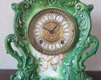1881 AntiqueGilbert American Porcelain China CaseShelf / Mantle Clock