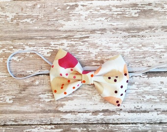 Baby/Child/Infant/Girl's Modern Dots and Circles Fabric Hair Bow Headband OR Hair Clip