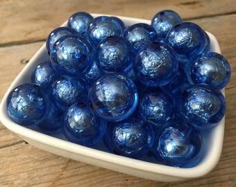 20mm Blue Transparent Foil Chunky Bead, Royal Blue Bubblegum Bead, Acrylic Bead, DIY Chunky Necklace, 10 Count