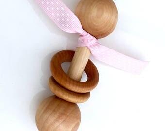 TOM-TOM TEETHER™ - Pink Polka Dot - Wooden Rattle - Newborn Teether - Teething Toy - Early Learning - Preemie Toy - Organic Teether