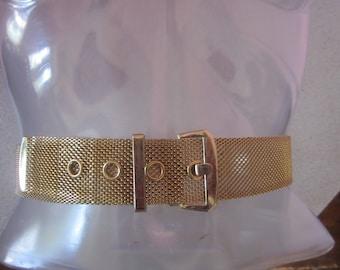 1970s Brass Mesh Belt, Size Small