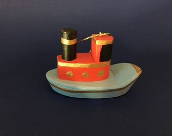 Wooden Tug Boat Christmas ornament