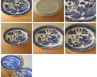 Blue Willow Platter and Vegetable Bowl