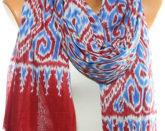 NEW Ikat Scarf Southwestern Scarf Tribal Scarf Aztec Scarf Native Scarf Patriotic Scarf Cotton Scarf Women Fashion Accessories Gift Ideas