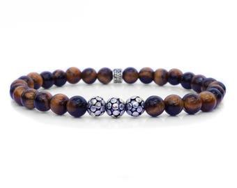 Tiger's Eye Bracelet, Bracelet for Man, Tiger's Eye and Sterling Silver Bracelet, Men's 6mm Bracelet, Men's Bracelet, Men's Beaded Bracelet