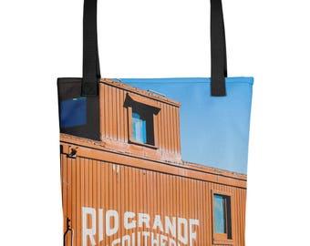 Tote bag - Red Silo Original Art - Rio Grande Southern Caboose Train Car