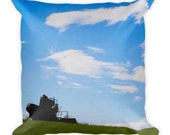 Square Pillow - Red Silo Original Art - Field Sentinel