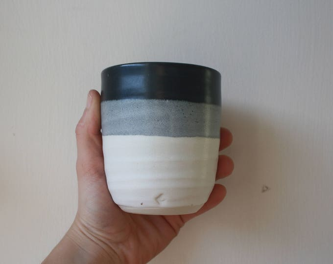 Tumbler - Black & White - Handmade - Ceramics and Pottery - KJ Pottery