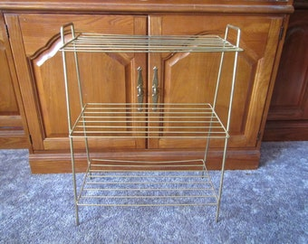 Gold tone Metal Magazine Stand , Magazine End table, book stand table,magazine rack , book rack, Mid century furniture