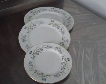 3 Duchess Harebell Plates Different Sizes Floral Bone China Floral Flowers