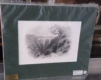 Vintage Print Peath's Bridge Berwickshire Scotland Steel Engraving 1859