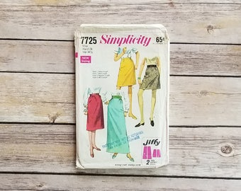 Retro Skirt Pattern 24 Inch Waist Simplicity 7725 Misses Jiffy Skirts Four Lengths 60s Ankle Length Skirt School Girl Skirt Floor Length
