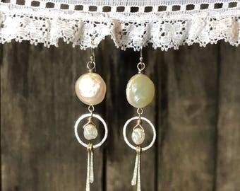 Pearl + Hammered Sterling Earrings