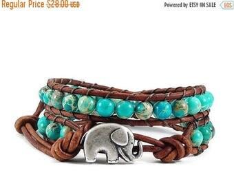 SALE Leather Wrap Bracelet Blue Imperial Jasper Gemstones Elephant Button Beaded Jewelry