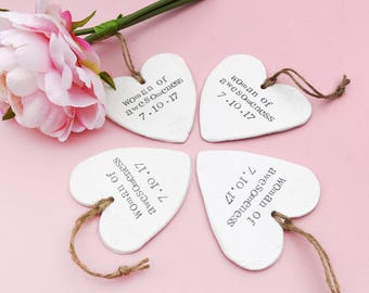 Bridesmaid Gift Clay Heart- Handmade Clay Heart Personalised With a Hand Stamped Message- Wedding Keepsake Gift- Wedding Party Gift