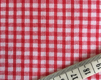 Vintage red white 4mm Gingham pure cotton fabric