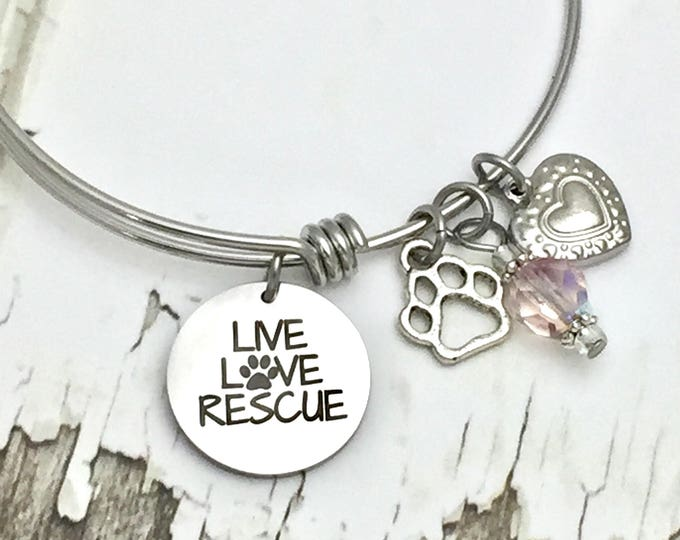 Live Love Rescue Expandable Bangle Charm Bracelet, dogs, cats, shelter, adopt, charity, pets, animals, forever home, puppy, kitten, no kill