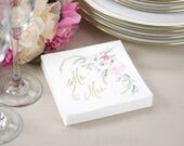 White Cocktail Napkins White Beverage Napkins Mr And Mrs Floral Design Wedding Napkins, Wedding Cake Napkins, 50 Napkins Per Quantity
