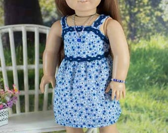 SUNDRESS Dress in Navy Blue Floral with Belt JEWELRY and SANDALS Option for American Girl or 18 inch Doll