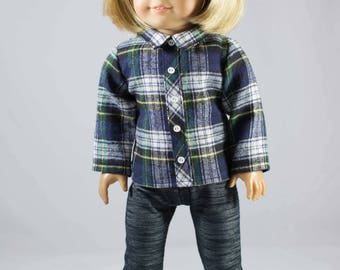 American Girl or 18 inch Doll Plaid Faux Button Front SHIRT, Denim JEGGINGS Leggings And Shoes BOOTS Options