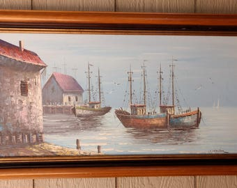Vintage Mid Century Oil on Canvas Seascape Harbor Painting by W Holler