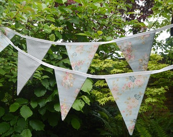 Handmade Fabric Bunting Tilda Blue/Grey Delicate Floral/Roses with Blue/Grey Dot Design 12 Double-Sided Flags for Home, Parties and more!